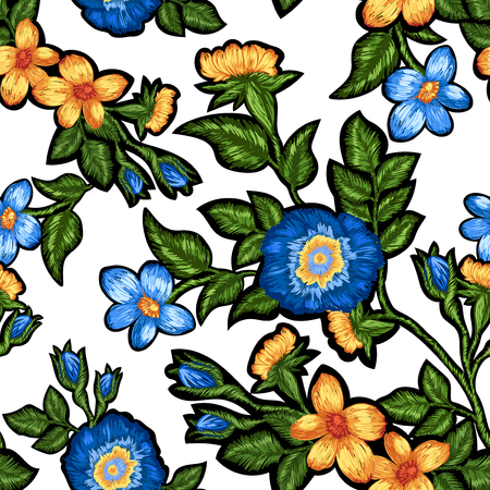Seamless pattern of floral embroidery on a white background. Çizim