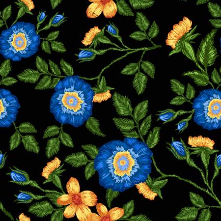 검정색 배경에 꽃 자 수의 원활한 패턴입니다.