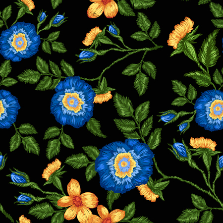 Seamless pattern of floral embroidery on a black background.