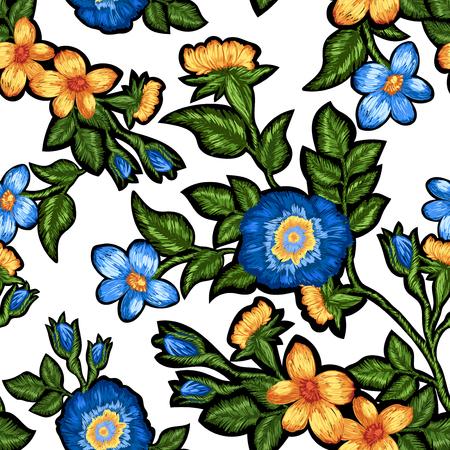 흰색 배경에 꽃 자 수의 원활한 패턴입니다.