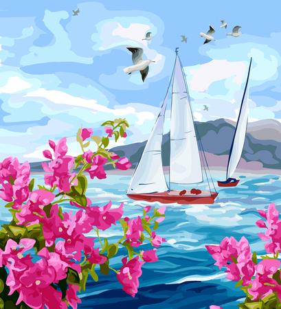 바다 경치. 바다, 요트 산 꽃과 갈매기 일러스트