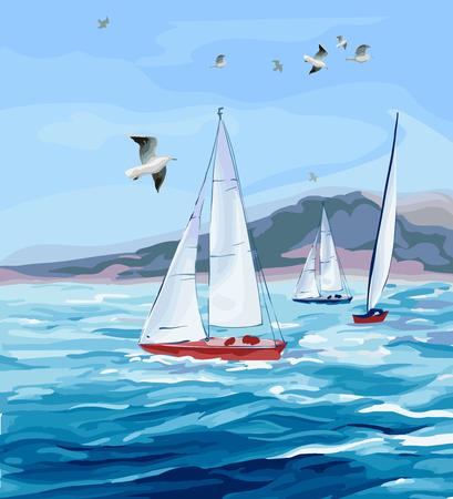 바다 경치. 바다, 요트 산과 갈매기