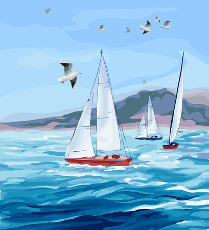 Seascape. The Sea, yachts mountains and gulls Stock Illustratie