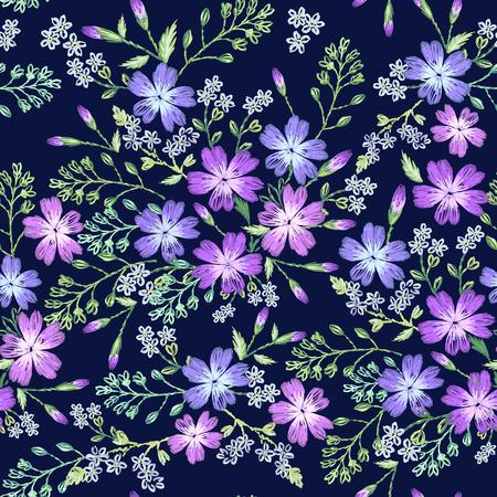Seamless pattern of beautiful purple flowers on a dark background. Imitation of embroidery. Illustration