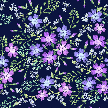 Seamless pattern of beautiful purple flowers on a dark background. Imitation of embroidery. Stock Illustratie