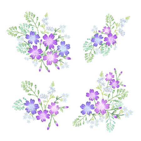 Set of decorative floral compositions.