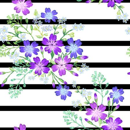 Seamless pattern of beautiful purple flowers on a sptipe background.