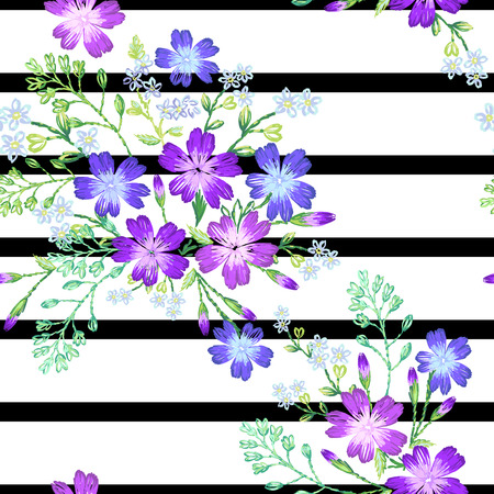 Seamless pattern of beautiful purple flowers on a sptipe background.