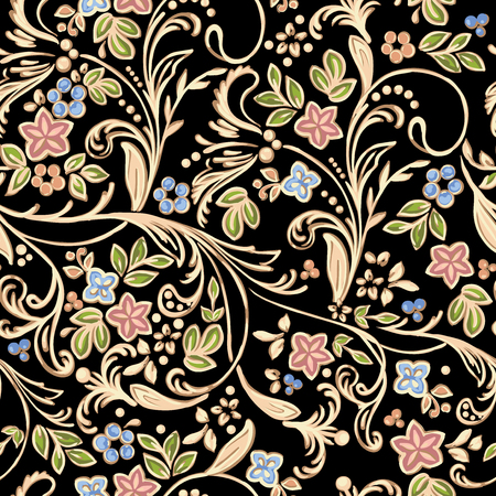 Golden pattern with flowers
