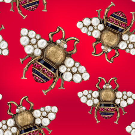 baroque pearl: Flies with gems pattern.