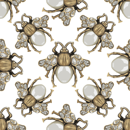 baroque pearl: Fly with gem on a white pattern. Illustration