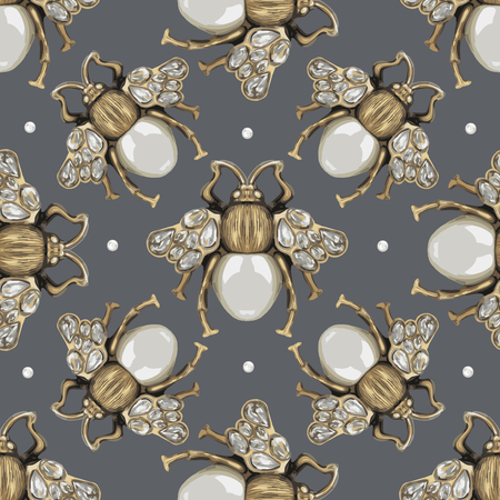 baroque pearl: Jewelry fly on a gray background. Illustration