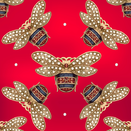 Jewelry of a fly on a red background Stock Illustratie