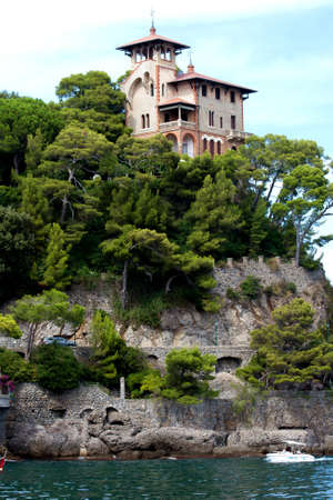 Villa on the rock, Portofino, Italy photo