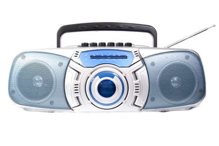 Cassette player radio isolated on white background photo
