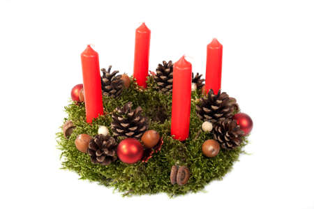 traditional home made advent wreath isolated on the white background. photo