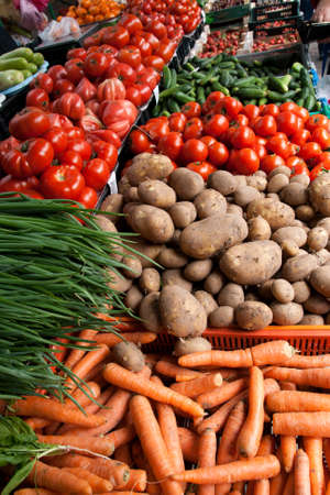 Fresh organic  Fruits and vegetables in a farmers market Stock Photo - 11914365