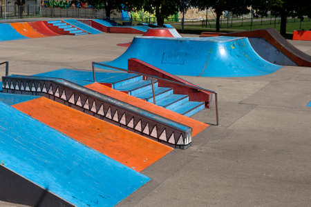 on ramp: A empty skate park with ramps and other elements Editorial