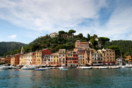 Portofino yacht port and luxury villas at the  hill, Italy , Liguria photo