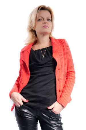 red pants: Woman in black leather pants and red jacket