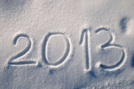 Message handwritten in fresh powdery snow for 2013 photo
