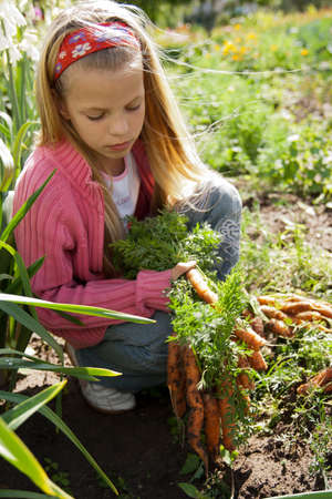 Girl in vegetable garden hold carrots