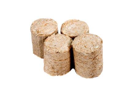 holzbriketts: Holzbriketts auf einem wei�en Hintergrund