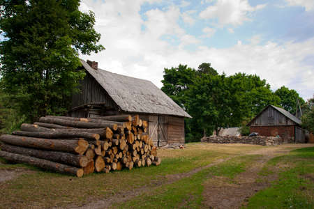 rural landscape with barn,pile of logs and road Stock Photo - 13181114
