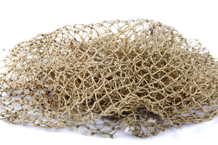 piece of fishing net on a white background photo