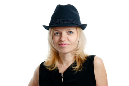 smiling woman with a black hat and black shirt on white background photo