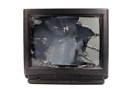 television antigua: Old TV con la pantalla rota Foto de archivo