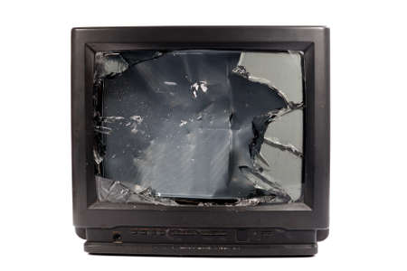 Old TV with broken screen