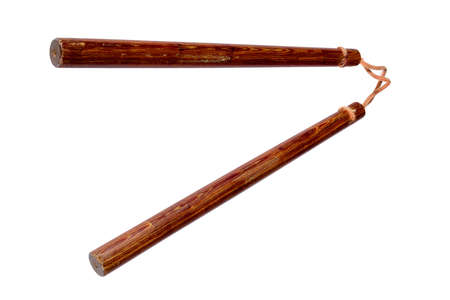 nunchaks: Wooden Nunchaku weapon on white background Stock Photo