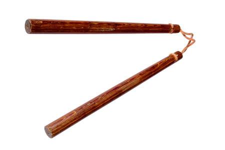 nunchaks: Wooden Nunchaku weapon on white background Stock Photo