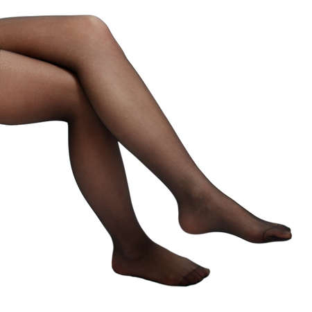 womans legs in brown stockings on a white background photo