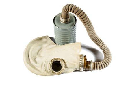 old military gas mask on a white background photo