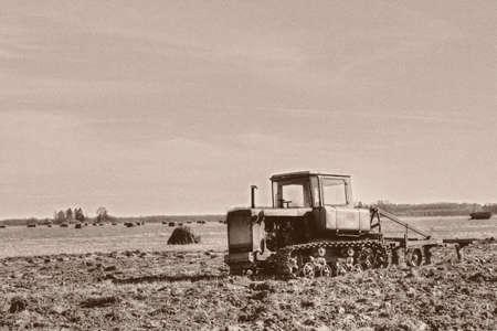 crawler: antique crawler tractor  in retro style picture