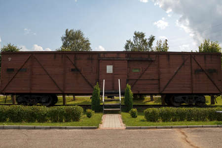 deported: memorial wagon ? museum near station Skrunda, Latvia, train wagon with in 1941 and 1949 deported Latvian people to Siberia