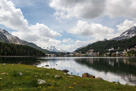 St. Moritz is a resort town in the Engadine valley in Switzerland. Stock Photo
