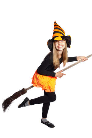 little witch flying with her ??broom on white background