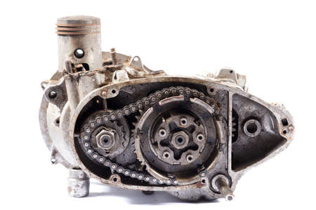 old motorcycle engine on a white background