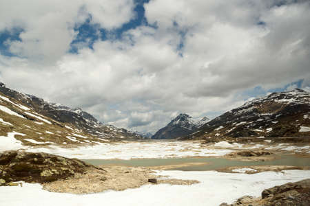 The Bernina Pass (el. 2328 m.)  is a high mountain pass in the Bernina Range of the Alps Stock Photo - 14981346