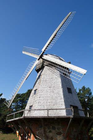 traditional windmill: old traditional windmill against a blue sky