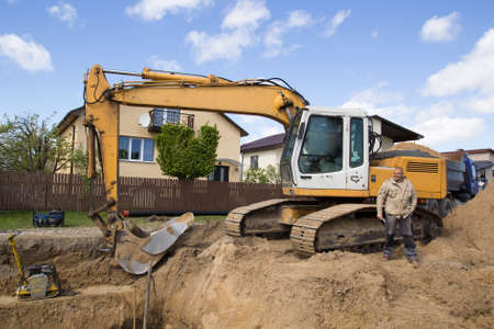 excavator in construction site Stock Photo