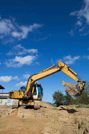 excavator on site. Construction of new street Stock Photo - 16569505