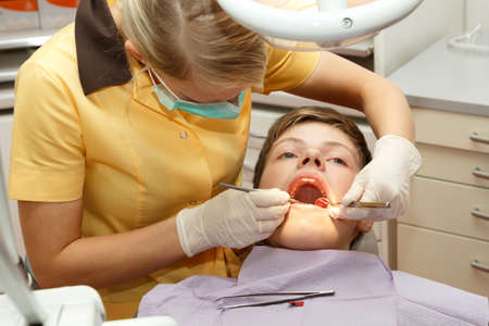 dentist mask: Young dentist do dental treatment