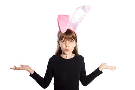 smiling girl with bunny ears on a white background photo