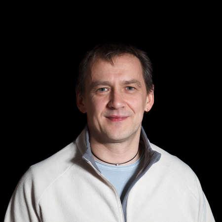 real man portrait on black background