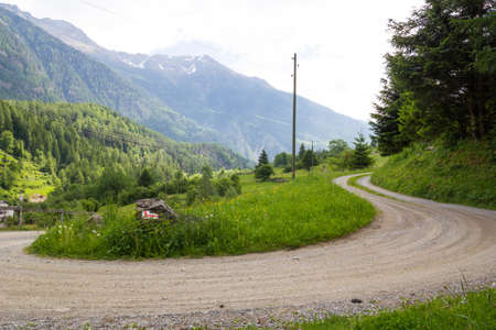 small country road in the Swiss Alps Stock Photo - 17817756