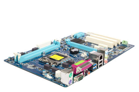 PC motherboard on white background